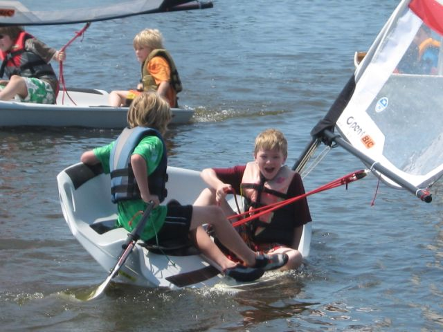 Kids sailing the Open Bic