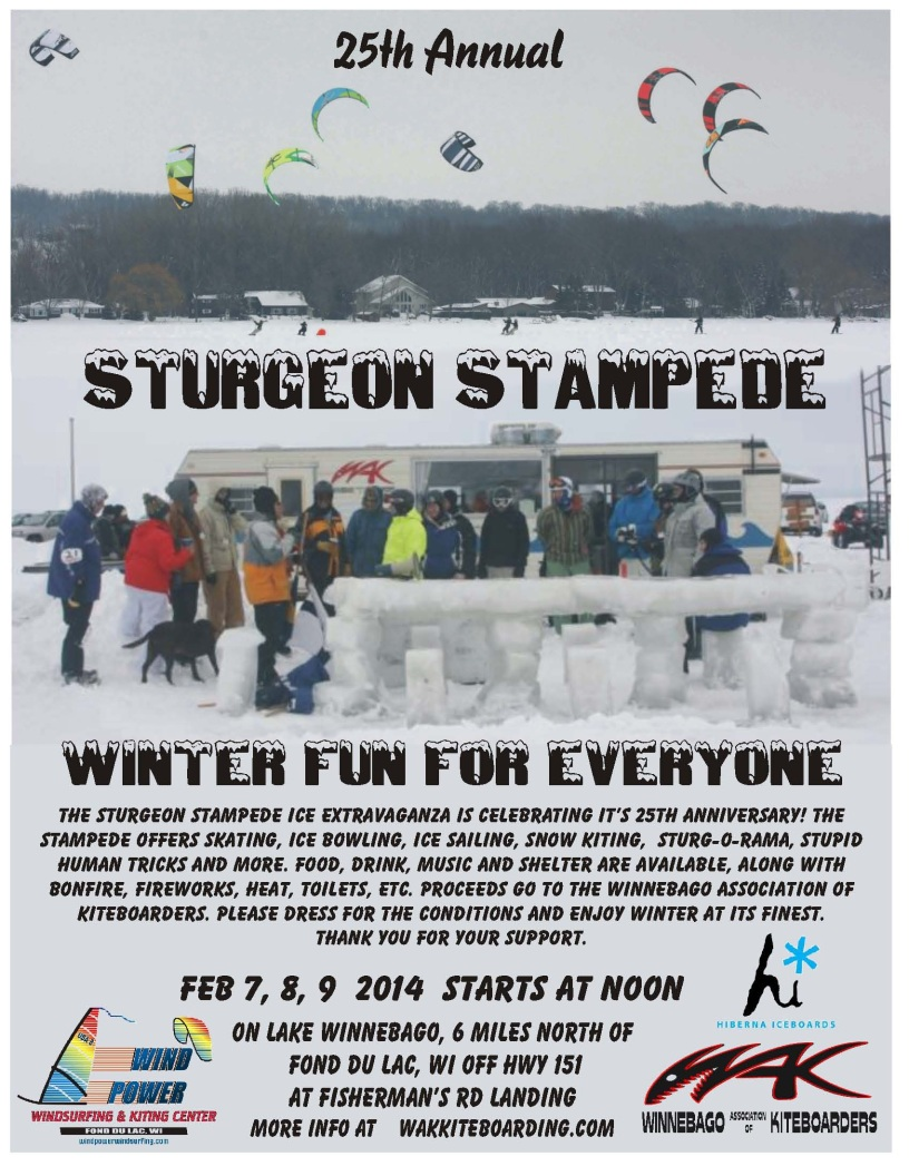 2014 WAK Sturgeon Stampede Kiteboarding Event Poster